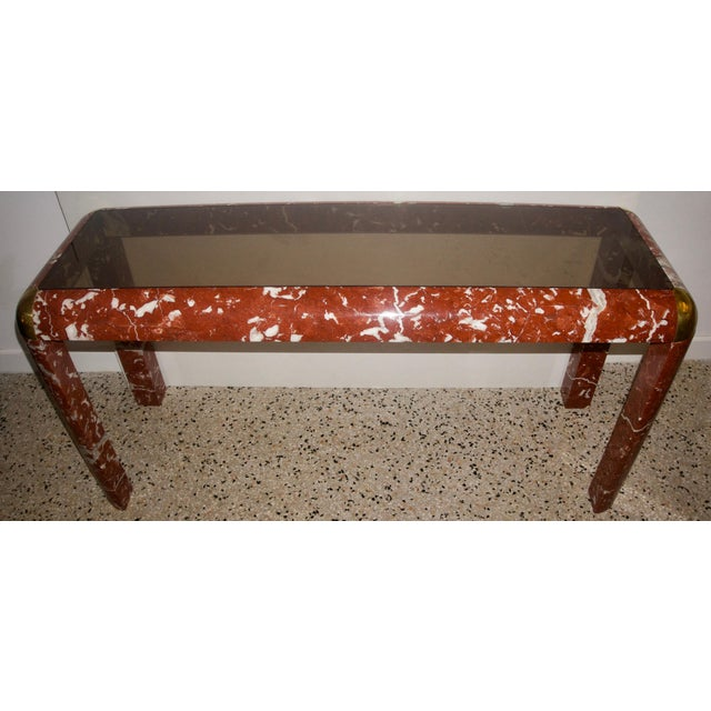Hollywood Regency Karl Springer Console Table in Breccia Marble, Brass and Smoke Glass For Sale - Image 3 of 8