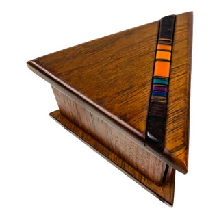 1980s Robert McKeown Triangular Walnut + Resin Inlay Stamp Box For Sale