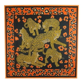 Batik on Silk Textile Art - Leopards For Sale