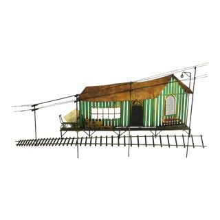 1970s Brutalist Wall Sculpture of Rural Train Station by Cosco After Jere For Sale