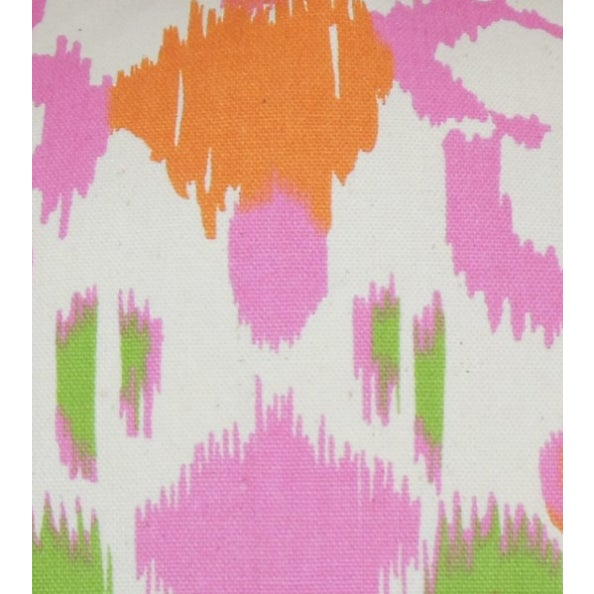 Pink, Orange & Green Ikat Pillows - A Pair For Sale - Image 5 of 6