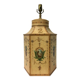 Vintage Chinese Export English Hexagon Tea Caddy Lamps For Sale