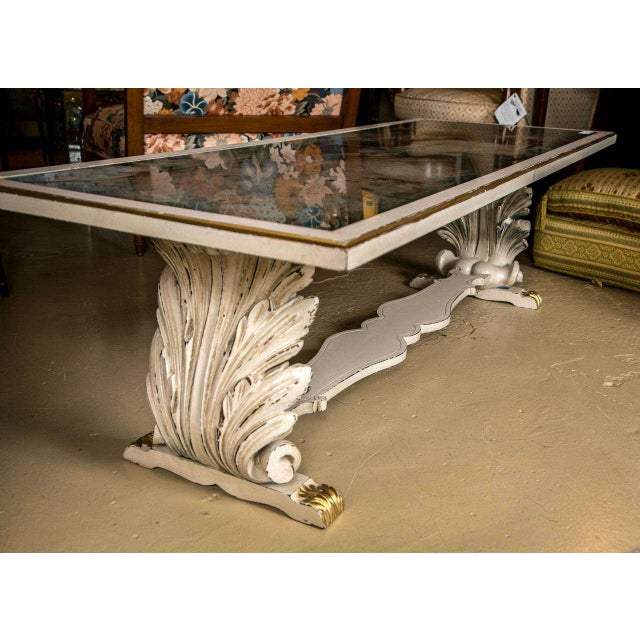 1940s Shell Verne Églomisé Top Coffee Table For Sale - Image 5 of 9