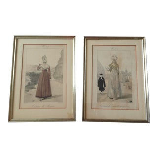 1960s Victorian Women's Fashions Reproduction Prints by Gatine Sculp, Framed - a Pair For Sale