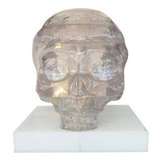 "Monumental ""Crystal Skull"" Acrylic Resin, Mounted on Pedestal For Sale"