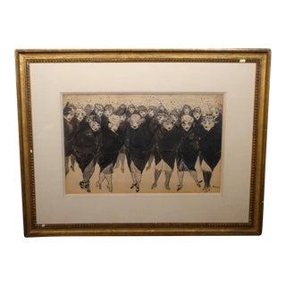 """1920s """"Flappers"""" Figurative Ink Illustration by Marjorie Organ Henri, Framed For Sale"""