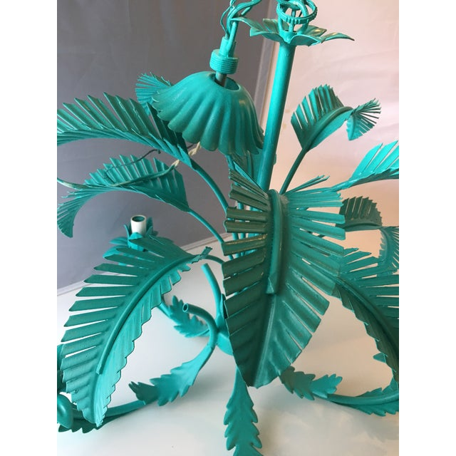Turquoise Palm Tole Chandelier - Image 7 of 7