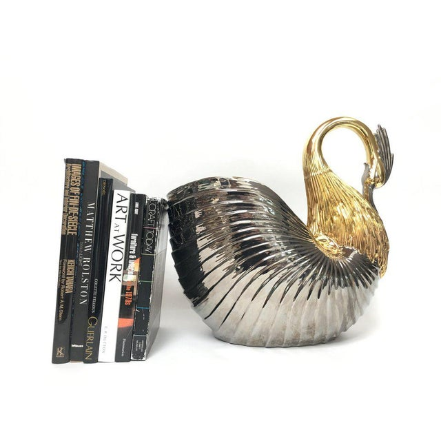 Monumental Italian Ceramic Swan Nautilus Shell Floor Planter Painted in Gold and Silver For Sale - Image 4 of 12