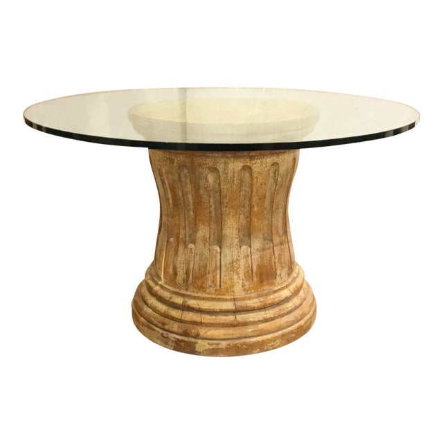 Rustic Modern Round Distressed Column Pedestal Foyer/Dining Table