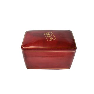 Vintage Italian Handmade Calf Leather Playing Game Card Case Box With Gold Gilt Preview
