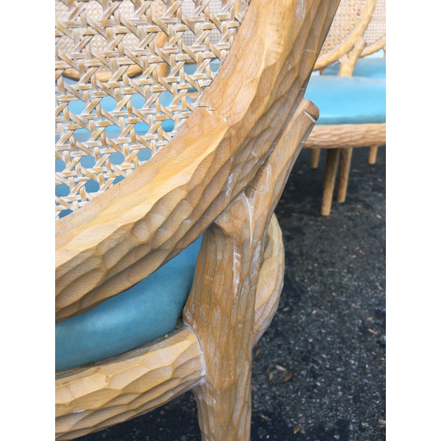 Blue 1970s Vintage Faux-Bois and Cane Dining Chairs- Set of 6 For Sale - Image 8 of 11