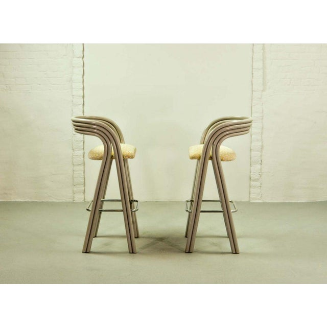 Silver Set of Six Mid-Century Dutch Design Luxurious Bamboo Barstools by Axel Enthoven for Rohé Holland, 1980's For Sale - Image 8 of 13
