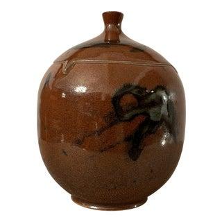 Mid Century Modern Vintage Glazed Pottery Pot, Signed Mark 5 For Sale