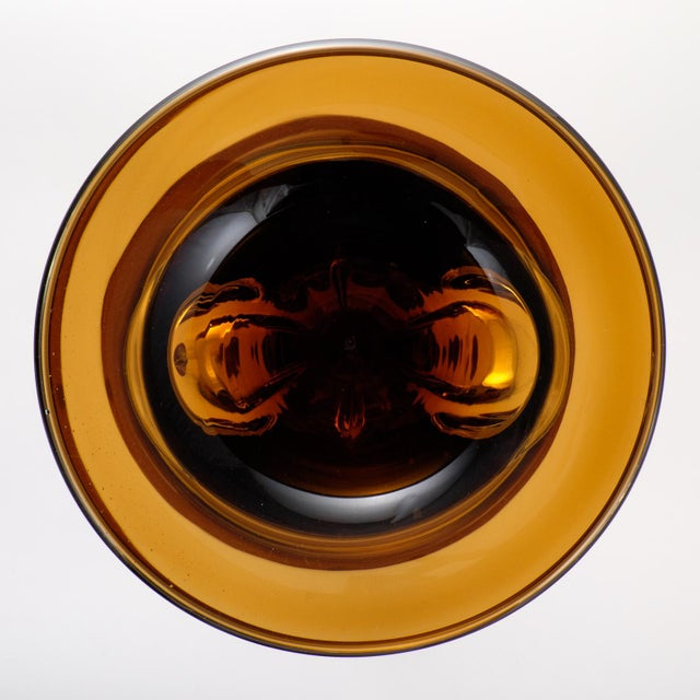 Murano Amber & Avventurina Glass Candles Holders - A Pair For Sale - Image 10 of 10