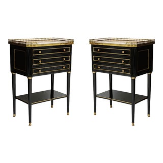 French Louis XVI Style Marble-Top End Tables With Brass Gallery - a Pair For Sale