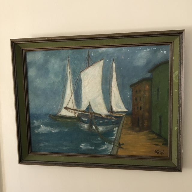 Vintage Twilight Sailboat Painting For Sale - Image 9 of 10