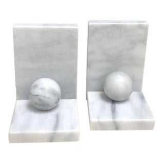 Art Deco Geometric Marble Bookends - a Pair For Sale