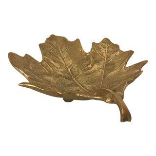 Vintage Brass Leaf Shaped Trinket Dish For Sale