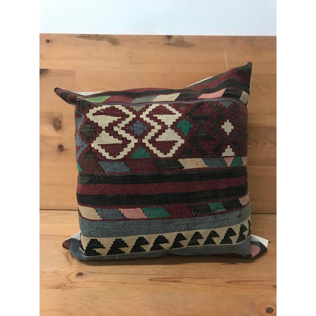 Turkish Large Kilim Pillow From Rug Fragments For Sale - Image 4 of 5