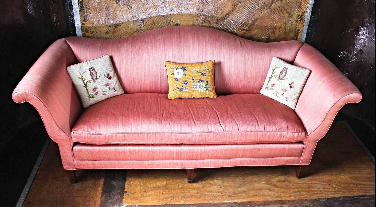 Beau Antique Chippendale Silk Down Sofa   Image 2 Of 11