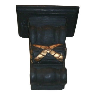 Asian Black & Gold Wooden Wall Shelf For Sale
