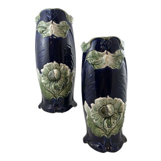 Traditional Blue and Dark Green Majolica Vases - a Pair