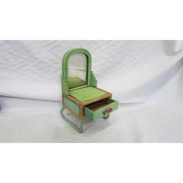 1930s 1930s - 1940s Paul Frankl Salesman Sample Miniature Rattan Furniture - 3 Pc. Set For Sale - Image 5 of 8