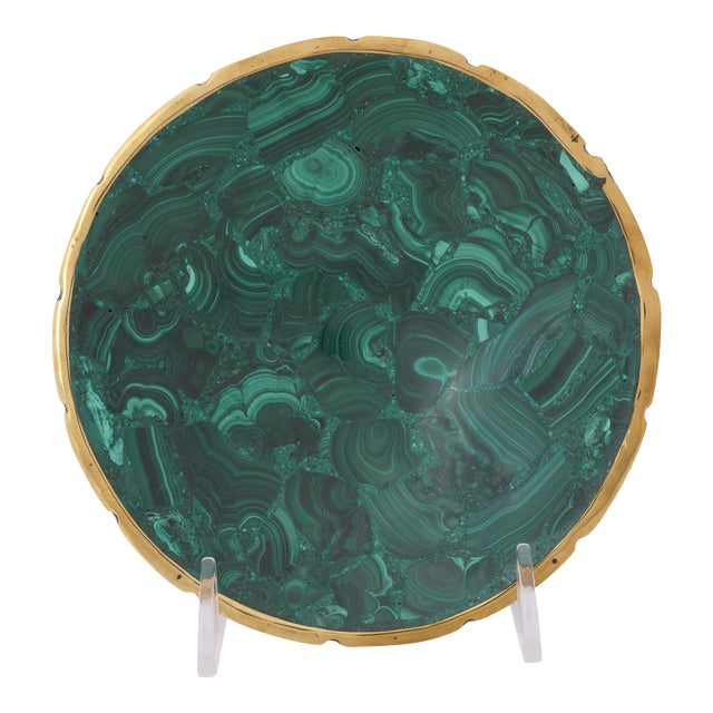 Vintage Round Malachite Dish With Scalloped Brass Rim For Sale