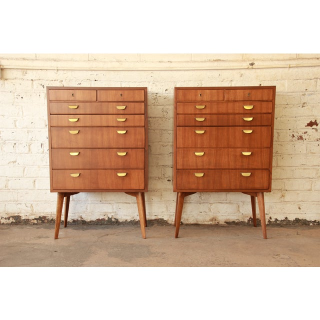 Offering a rare and exceptional mid-century modern bachelor chest designed in Germany by Helmut Magg for WK Möbel. The...