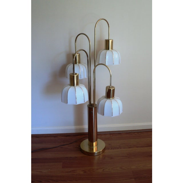 Hollywood Regency Brass & Glass Arc Table Lamp For Sale - Image 7 of 8