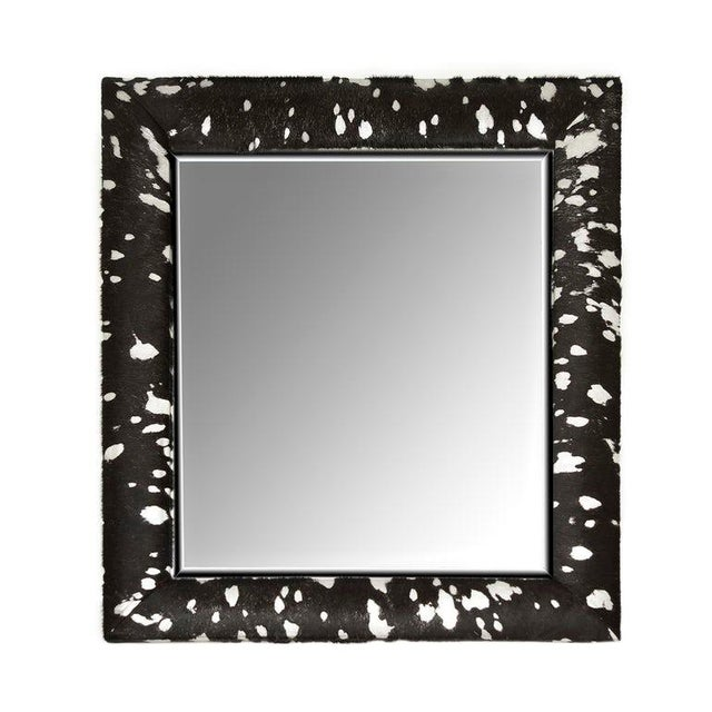 2010s Contemporary Black & Silver Metallic Hide Mirror For Sale - Image 5 of 5