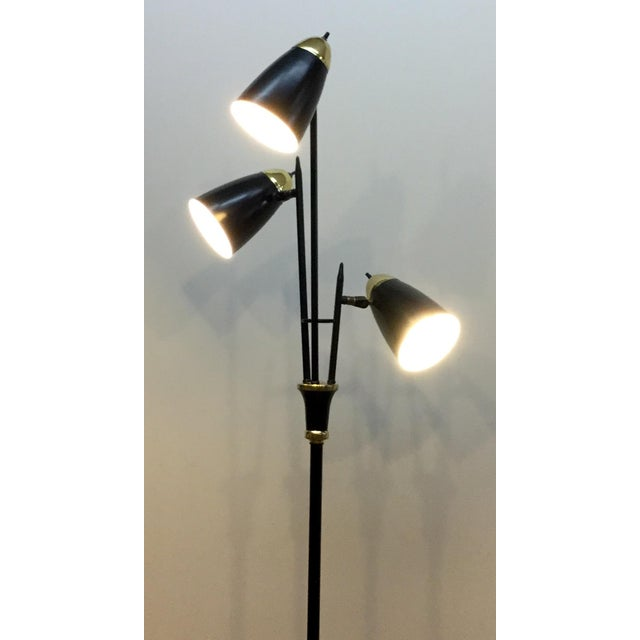 Mid-Century Black & Brass Adjustable Floor Lamp - Image 4 of 5