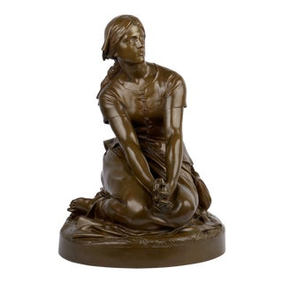 """Antique French Bronze Sculpture """"Joan of Arc"""" After Henri Chapu by Barbedienne For Sale"""