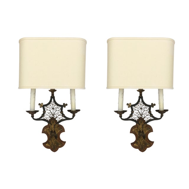 Wood & Metal Sconces - A Pair - Image 1 of 5