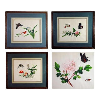 Circa 1800 Chinese Botanical Watercolor Paintings on Paper - Set of 4 For Sale