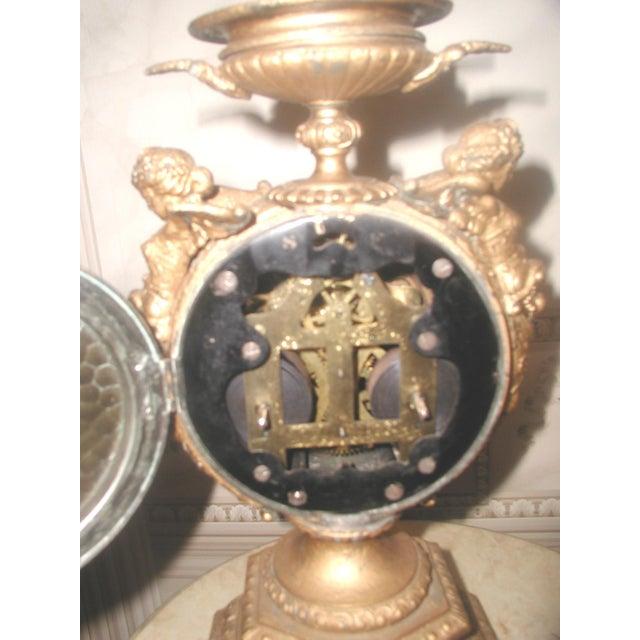 Ceramic 1890-1900 Mayer 8 Day Cherub Gilt Clock For Sale - Image 7 of 9