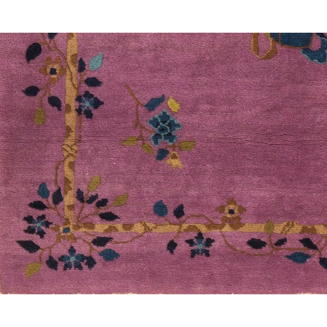 Art Deco 1920s Vintage Chinese Art Deco Square Rug - 3′11″ × 4′2″ For Sale - Image 3 of 5