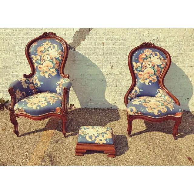 Antique Slipper Chairs & Ottoman, 3 Pieces For Sale - Image 10 of 10