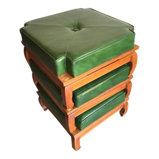 Mid-Century Green Stacking Stools - Set of 3