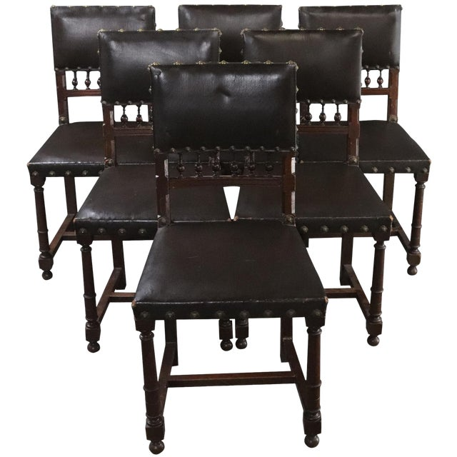 Dining Chairs Henry II Renaissance Walnut Brown - Set of 6 For Sale