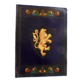 Large Vintage Embossed Leather Book Cover For Sale