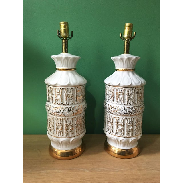 Vintage 1950s White and Gold Table Lamps - a Pair For Sale - Image 10 of 10