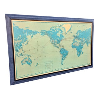 1956 Vintage Pan Am Airlines Flight Route Wall Map For Sale