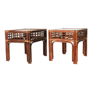 Rattan End Tables - a Pair For Sale