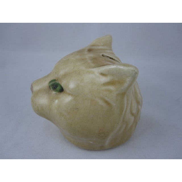 Antique French Orchies Majolica Cat Head Bank - Image 3 of 8