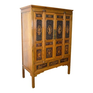Antique Asian Chinese Hardwood Large 4-Door Cabinet For Sale
