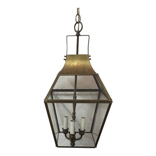 Vintage Underwriters Laboratories Brass & Glass Ceiling Lantern For Sale