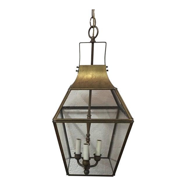 Vintage Underwriters Laboratories Brass Glass Ceiling Lantern For
