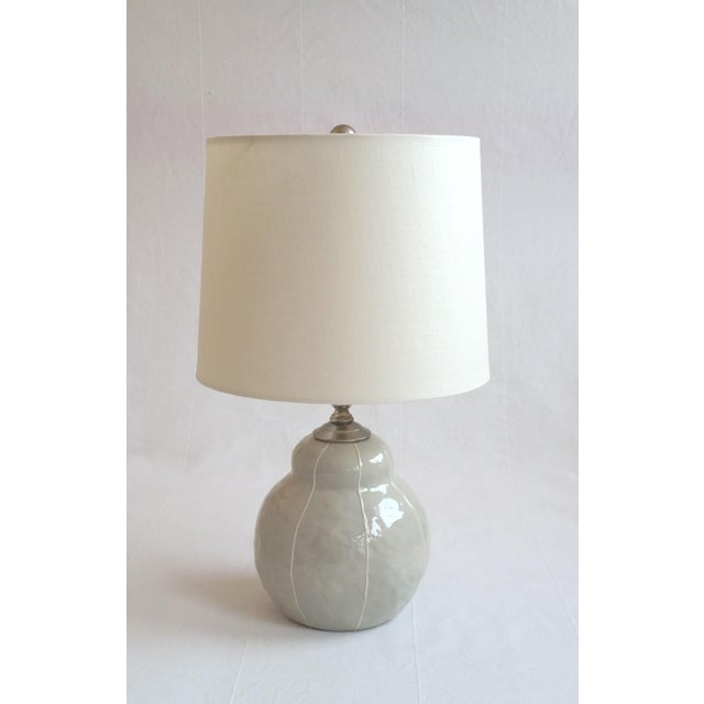 Gray with White Pinstripes Table Lamp For Sale - Image 4 of 7