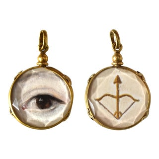 Contemporary Lover's Eye Painting by S. Carson in an Antique French Pendant Locket- 2 Sided For Sale